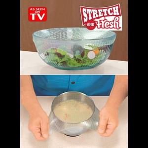 סט 6 כיסויי סיליקון גמישים לכיסוי מזון   Stretch And Fresh