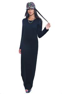 שמלת סריג שחורה ארוכה
