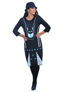 שמלת סריג שחור טורקיז