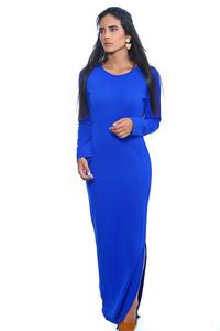שמלת סריג כחולה ארוכה