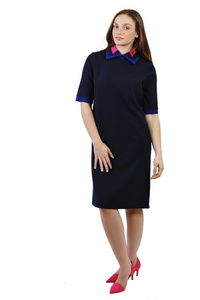 שמלת צווארון משולב כחולה