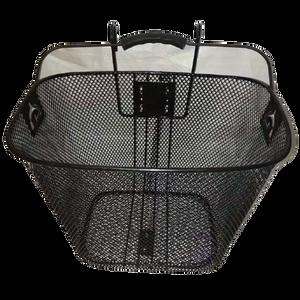 סלסלת ברזל לאופניים בצבע שחור עם ווי תלייה