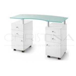 שולחן מניקור משטח זכוכית