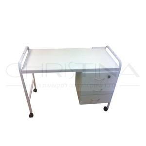 שולחן מניקור נייד 3 מגירות גוף מתכת
