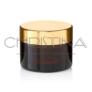 צנצנת זכוכית שחורה לקרם עם פקק צבע זהב
