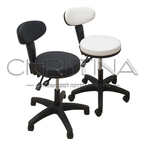 כיסא מתכוונן עם משענת קצרה ורחבה לקוסמטיקאיות