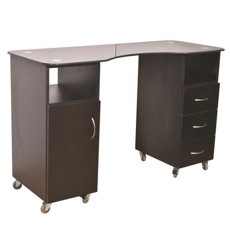 שולחן בניית ציפורניים שחור משטח זכוכית