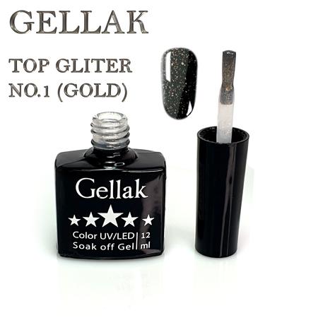 טופ נצנצים ללא נטרול זהב  - Gellak No Wipe Top Coat Glitter 1