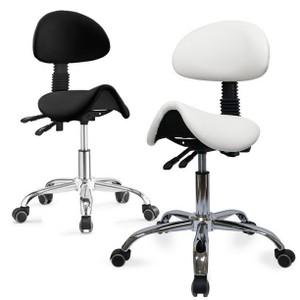כיסא אוכף עם משענת שחור \ לבן