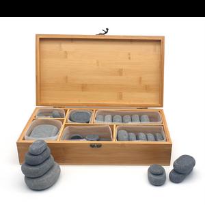 סט אבנים חמות 40 חלקים בקופסאת במבוק יוקרתית