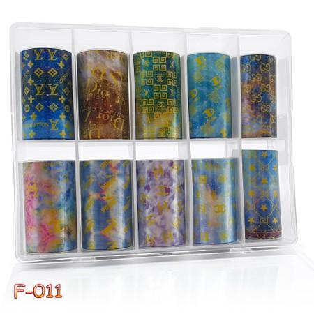 מארז ניירות פויל לקישוט הציפורניים 10 יח' - F011