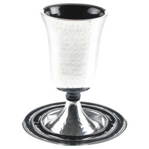 גביע קידוש אלומניום מרוקע עם צלחת