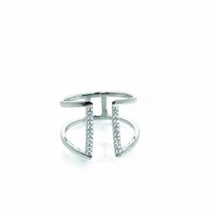 טבעת פסים משובצת