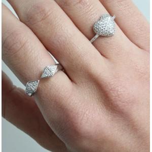 טבעת מעוינים שיבוץ כסוף