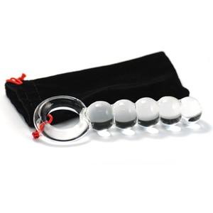 דילדו זכוכית כדורים עם טבעת אחיזה