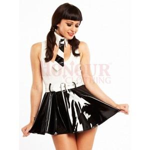 תלבושת תלמידה סקסית פי וי סי שחור לבן