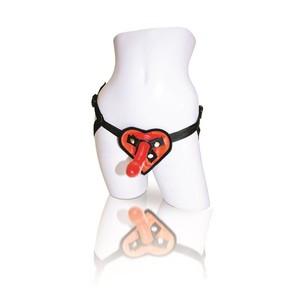 סט סטראפאון בצורת לב עם דילדו סיליקון