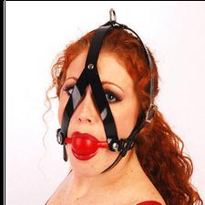 רתמת ראש עם מחסום פה כדורי שחור או אדום