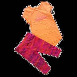 ADIDAS סט 2 חלקים אדידס טייטס סגול וחולצה כתומה