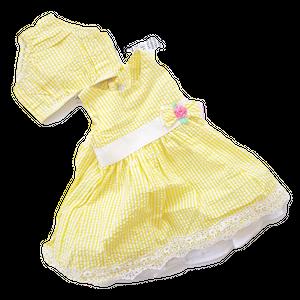 RARE EDITION שמלה צהובה משבצות סרט בצד