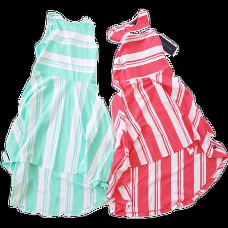שמלת טומי הילפיגר קיצית בשני צבעים: אדום-לבן, ירוק לבן