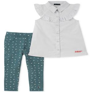 טומי הילפיגר 2 חלקים:חולצת טוניקה לבנה עם טייטס כחול בהיר כוכבים