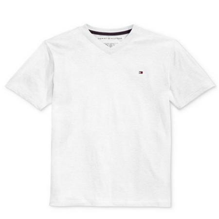 חולצת טומי לבנה V לוגו קטן