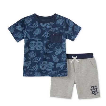 טומי הילפיגר סט 2 חלקים: חולצה כחולה קצרה ומכנס ברמודה אפורה