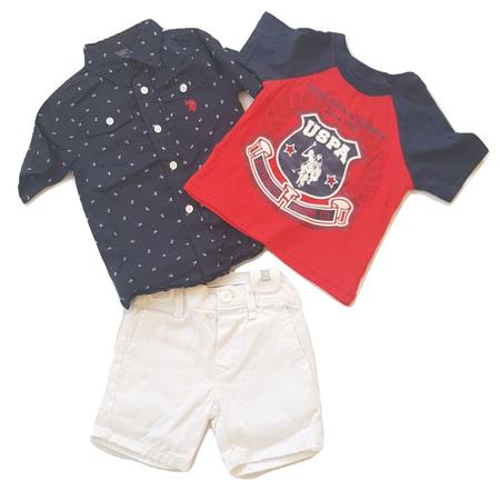 יו אס פולו סט 3 חלקים: מכופתרת כחולה וטישרט אדומה ומכנס לבן