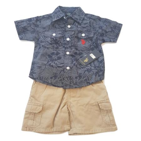יו אס פולו סט 2 חלקים: מכופתרת אפור כחול ומכנס ברמודה חאקי