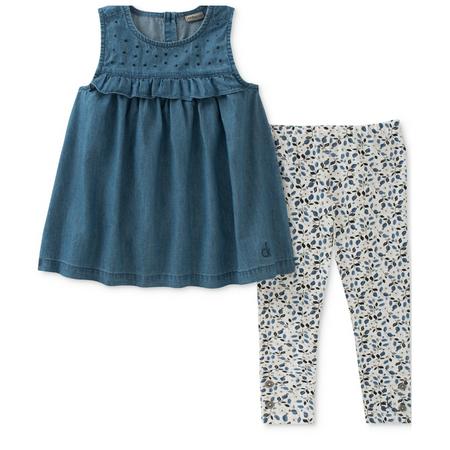 קלווין קליין סט 2 חלקים שמלת ג'ינס כחולה וטייטס לבן כחול עם פרחים