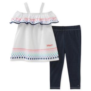 סט 2 חלקים טומי הילפיגר: טוניקה לבנה וטייטס דמוי ג'ינס כחול