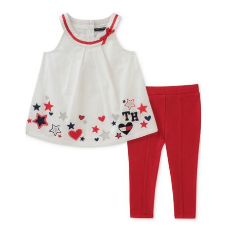 סט 2 חלקים: טוניקה לבנה עם עיטורי לבבות וטייטס אדום