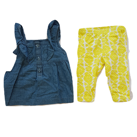 CARTER'S סט טייטס צהוב ושמלת טוניקה ג'ינס