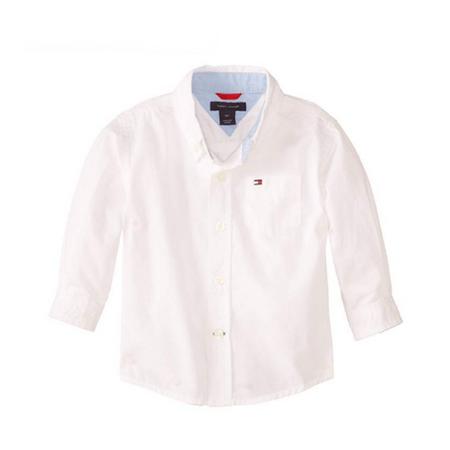 חולצת טומי מכופתרת לבנה חלקה