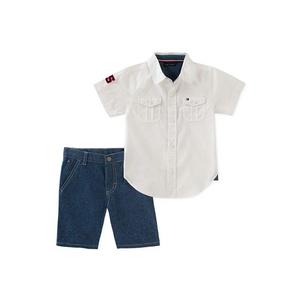 טומי הילפיגר סט 2 חלקים: מכופתרת לבנה עם ברמודה ג'ינס