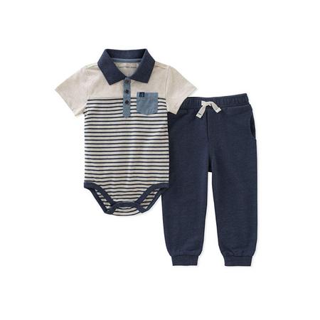 קלווין קליין סט 2חלקים: מכנס ארוך כחול ובגד גוף אופייט פסים כחול