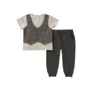 קלווין קליין סט 2חלקים: מכנס אפור ארוך וחולצה אופייט עם וסט אפור