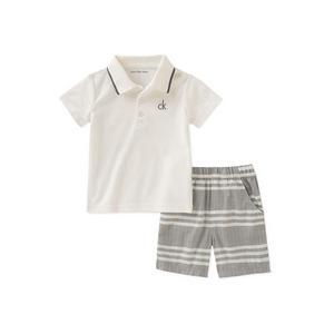 קלווין קליין סט 2 חלקים:ברמודה אפורה חולצת פולו CK לבנה