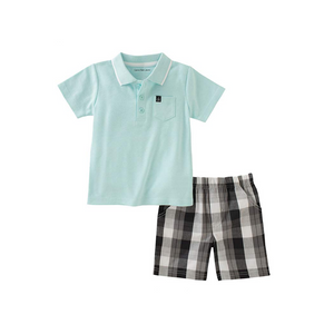 קלווין קליין סט 2 חלקים: ברמודה אפורה פס לבן וחולצה ירוק תכלת