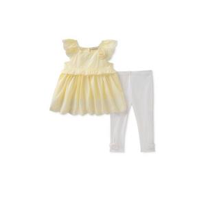 סט 2חלקים: סט שמלה צהובה עם טייטס לבן