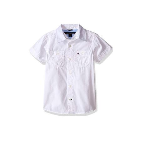 חולצה טומי בנים מכופתרת לבנה קצרה