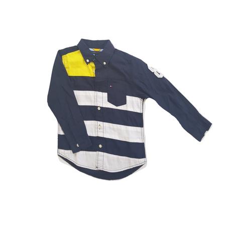 חולצה מכופתרת ארוכה כחולה פסים עבים לבן צהוב