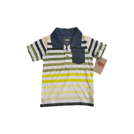 חולצת ליוויס 3 כפתורים פולו פסים צבעוניים