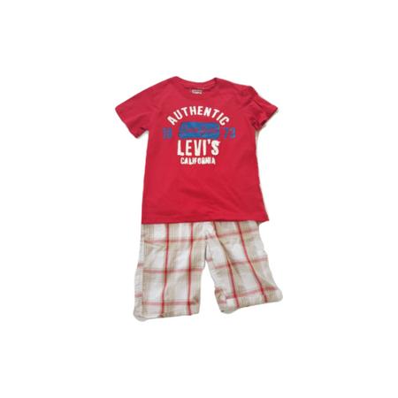 ליוויס סט 2חלקים מכנס ברמודה לבן אדום פסים וחולצה טי שרט אדומה