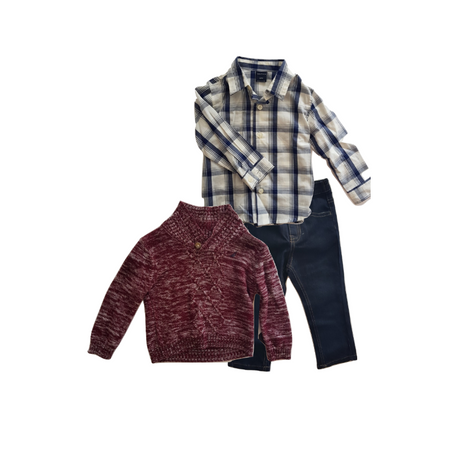 NAUTICA- סט סוודר חציל, מכופתרת משבצות וג'ינס נאוטיקה