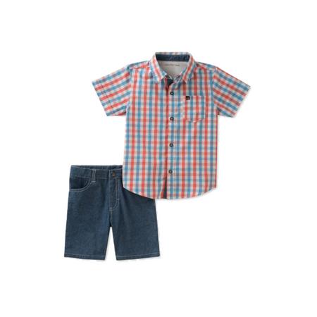 קלוין קליין סט 2חלקים: ברמודה ג'ינס וחולצה מכופתרת משבצות