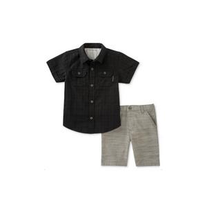 קלווין קליין סט 2חלקים: ברמודה אלגנט אפורה וחולצה מכופתרת שחורה