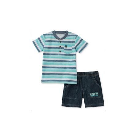 קלווין קליין סט 2חלקים: ברמודה ג'ינס וחולצה פסים ירוק כחול