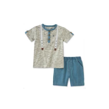 קלווין קליין סט 2חלקים: ג'ינס כחול בהיר וחולצה אפורה